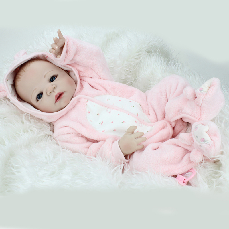 Handmade Full silicone vinyl 22inch Reborn Doll Lifelike Dolls play house s kids child brithday Christmas gift girls brinquedos - 5