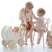 INS Style Baby Walker with 4 WheelsOffwhite Moon Type StrollerWooden Push Toy Activity Wagon for Toddler
