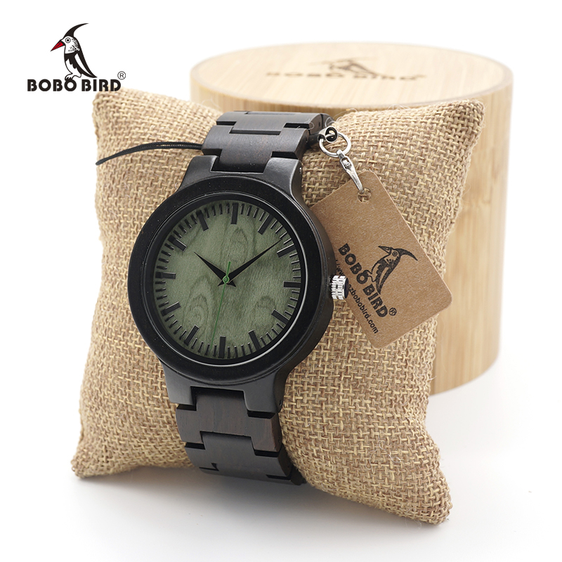 BOBO BIRD Men's Black Ebony Wooden Watch Wood Strap Quartz Analog Luxury Wedding Wristwatch in Gift Box custom logo bobo bird f08 mens ebony wood watch japan movement 2035 quartz wristwatch with leather strap in gift box free shipping