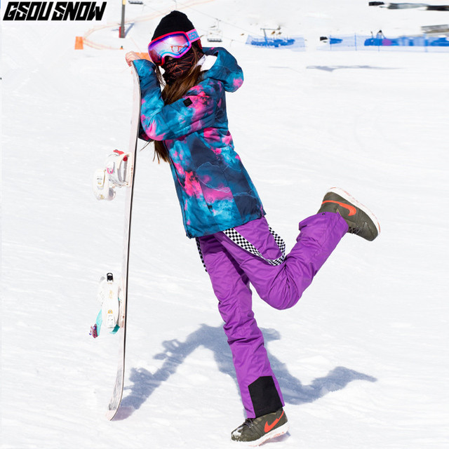 Winter Ski Suit Women Ski Jackets Pants Waterproof Skiing Suits Female Windproof Snowboarding Sets Ladies Cheap Snow Clothes