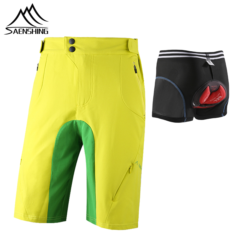 SAENSHING Cycling Shorts+Bicycle Bike underwear 3D Gel Pad breathable Downhill Mtb Shorts Men outdoor bisiklet bermuda ciclismo