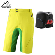 SAENSHING Cycling Shorts+Bicycle Bike underwear 3D Gel Pad breathable Downhill Mtb Shorts Men outdoor bisiklet bermuda ciclismo(China)