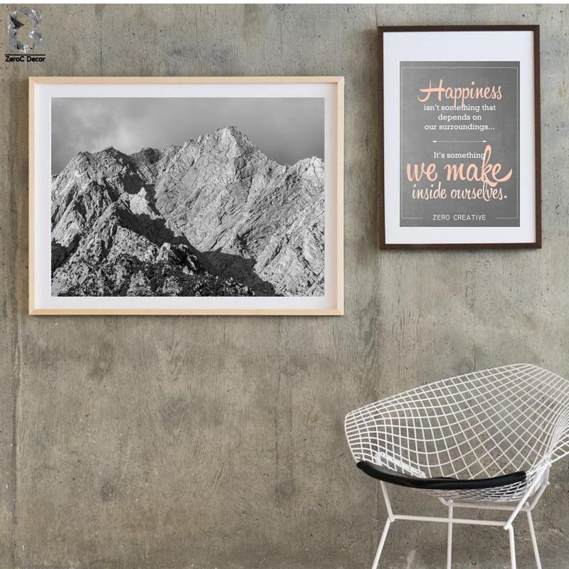 Obrazy a tisky na Black White Mountain Canvas, Obrazy na zeď - Dekorace interiéru