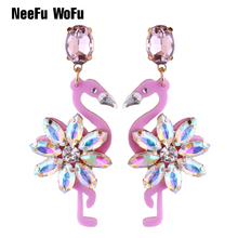 NeeFu WoFu 2018 Crystal Long Earrings Big Flamingo Large Earrings For Women Resin Brincos Brand earrings Ear Fine Jewelry Gift