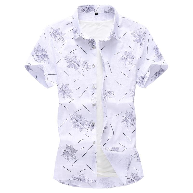 M-7XL Floral Linen Shirts Men Camisa social masculina Casual Dress Flower Shirt Cotton linen Blouse Red blue Summer
