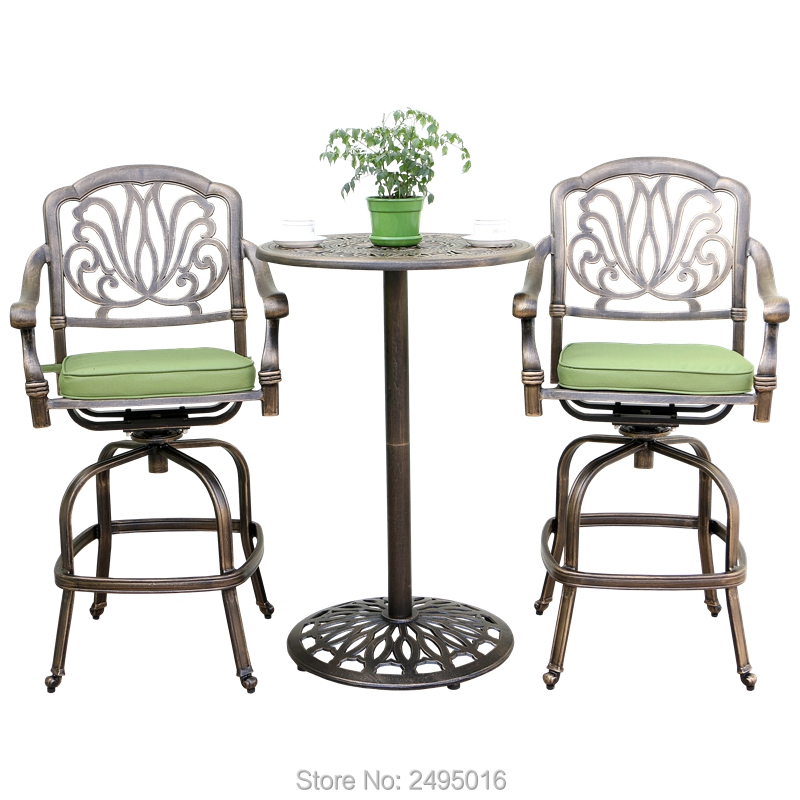 3-piece Cast Aluminum Patio Furniture Bar Set Bistro Table And Chairs Coverstaion Set For Pool,garden