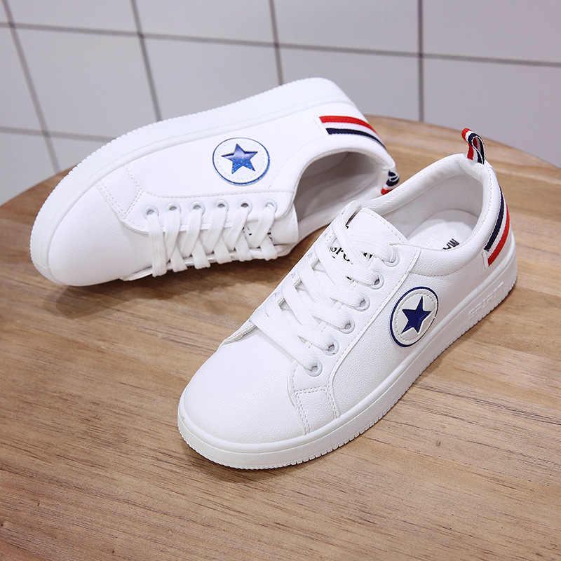 2019 zapatos mujer Zapatillas moda transpirable PU cuero plataforma zapatos blancos mujer zapatos de mujer
