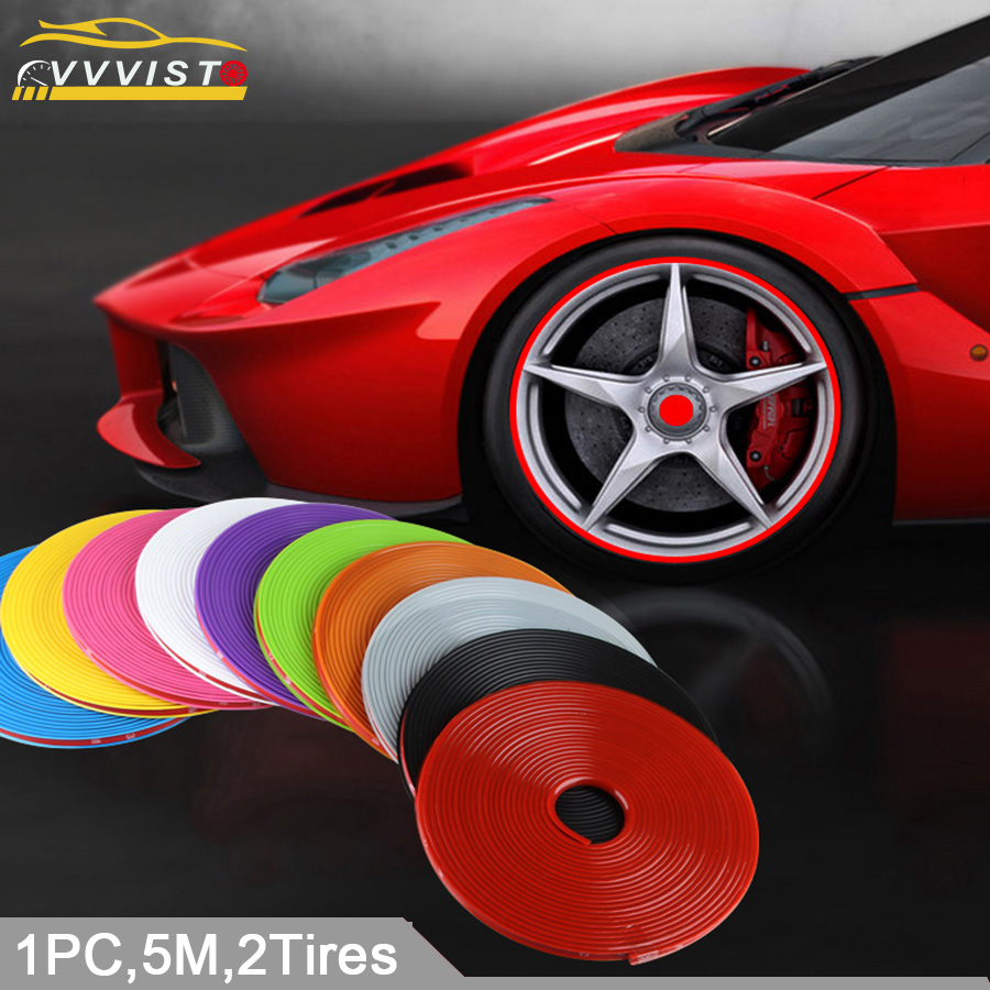 VVVIST Car Stickers 5M Strips Wheel Decals 13 To 21 Inch Car Styling And Decals For Auto Motorcycl Wheel Strips Rim Tire Styling