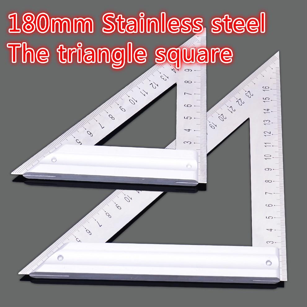 180 mm ilgio trikampio liniuotė 90 laipsnių kvadratinė storio nerūdijančio plieno trikampė taisyklė Medienos apdirbimo įrankio matavimas ir brėžinys