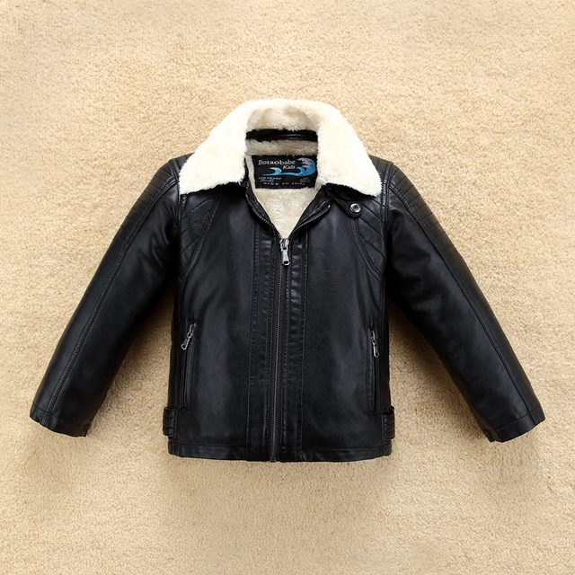 3afe22ca2899 Thick Fur Collar Boys Girls Leather Jacket for Autumn Winter Kids ...