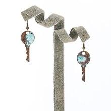 Retro Bronze Bohemian Long Drop Earrings Unique Geometric Key Chain Earrings 2019 for Women Jewelry Gift innopes 2019 bohemian long unique women s earrings dangle earrings jewelry earrings