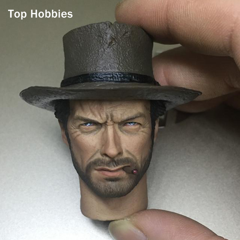 1/6 Scale head carving testa sculpt clint eastwood for hot toys Cowboy Wear hat Dangling cigarettes Fit 12 Phicen Action Figure b06 08 1 6 scale male head accessories carving sculpt model fit 12 inch phicen action figure doll toys