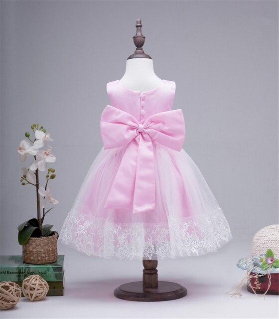 Hot Girl Vestido de Princesa Bow Baby Girls Vestido de Encaje Vestido Embroma la Ropa Elbise Vestido de Festa Infantil Ropa de Niños Niño Dres