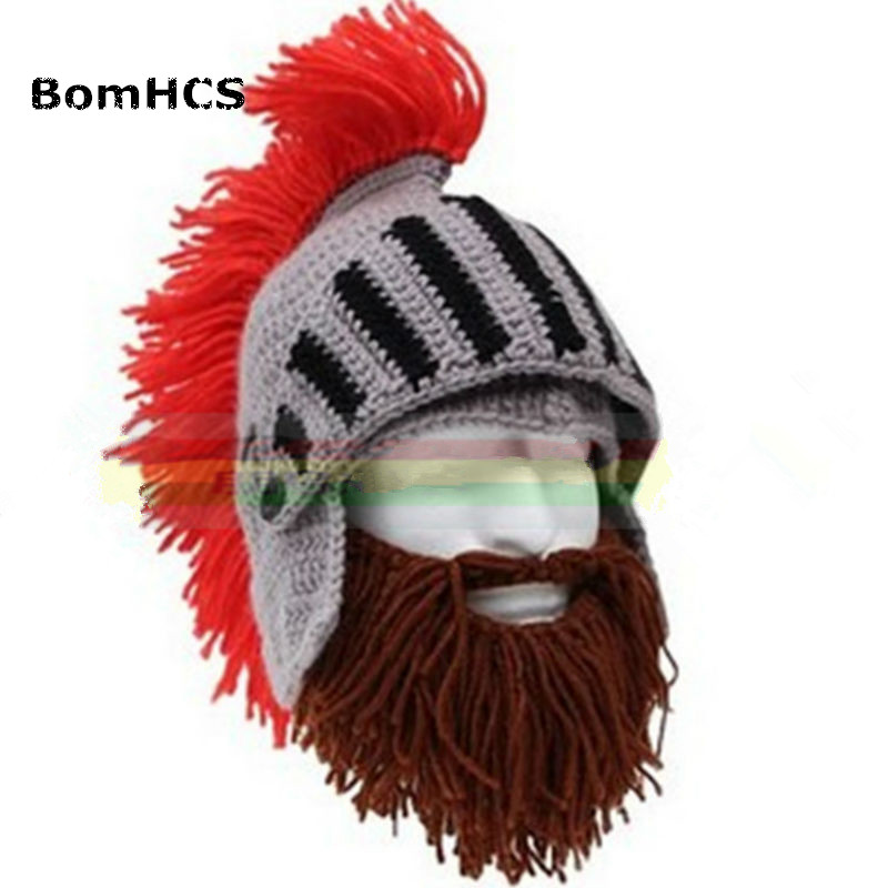 BomHCS Red Tassel Cosplay Roman Knight Knit Helmet Men's Caps Original Barbarian Handmade Winter Warm Beard Hats Funny   Beanies