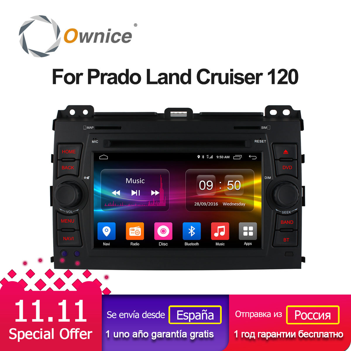 Ownice C500 4G LTE SIM Octa 8 Core Android 6.0 Car DVD Player for Toyota Land Cruiser Prado 120 2002-2009 GPS Navi Radio 32G ROM ownice c500 g10 octa core 2gb ram 32g rom android car dvd 8 1 gps for mazda 6 summit 2009 2015 wifi 4g lte radio dab dvr