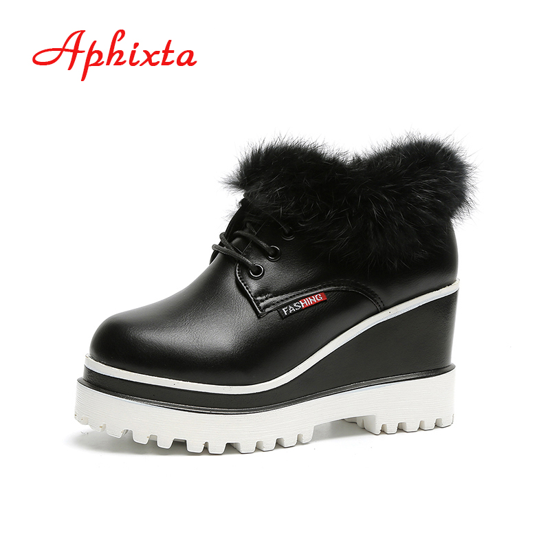 Aphixta Shoes Women Wedge Heels Ankle Boots Fur Waterproof Round Toe Lace-up Height increasing Ladies Mujer winter Woman Botte lin king new women slimming swing shoes height increasing ankle boots lace up elevator shoes outdoor travel muffins single shoes