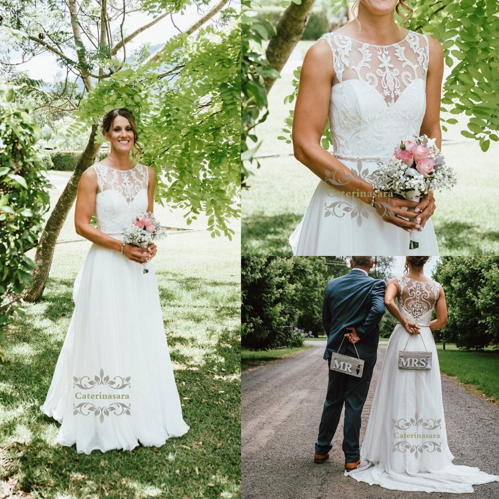 Scoop Neckline Chiffon Illusion Wedding Dresses A Line with Brush Train Outdoor Bride Gowns Lace Appliques Crystals Beaded Sash