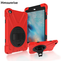 For apple ipad mini 4 case Kids Safe Shockproof Heavy Duty Silicone Hard Cover kickstand hand/Shoulder Strap Car Rear Seat use
