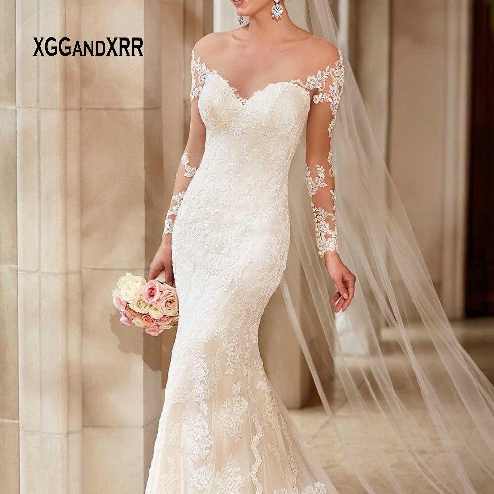 Romantique sirène longue robe de mariée 2019 col en V hors de l'épaule manches longues dentelle robe de mariée chapelle Train formelle robe de mariée - 6