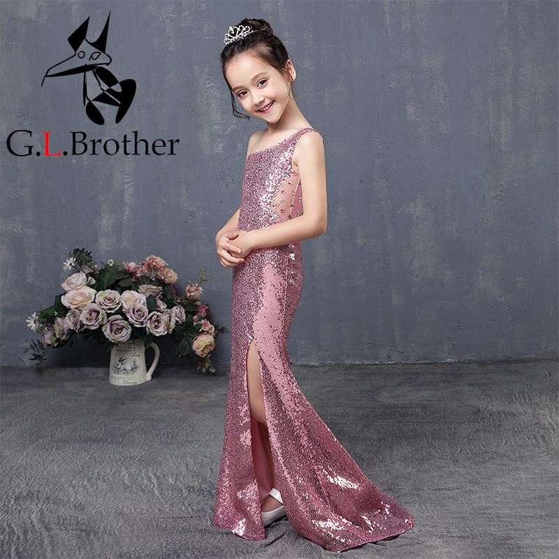 One Shoulder Princess Dress Trumpet Wedding Party Kids Pageant Dresses Sequins Girl Holy Communion Dress Tails Flower Girl Dress все цены