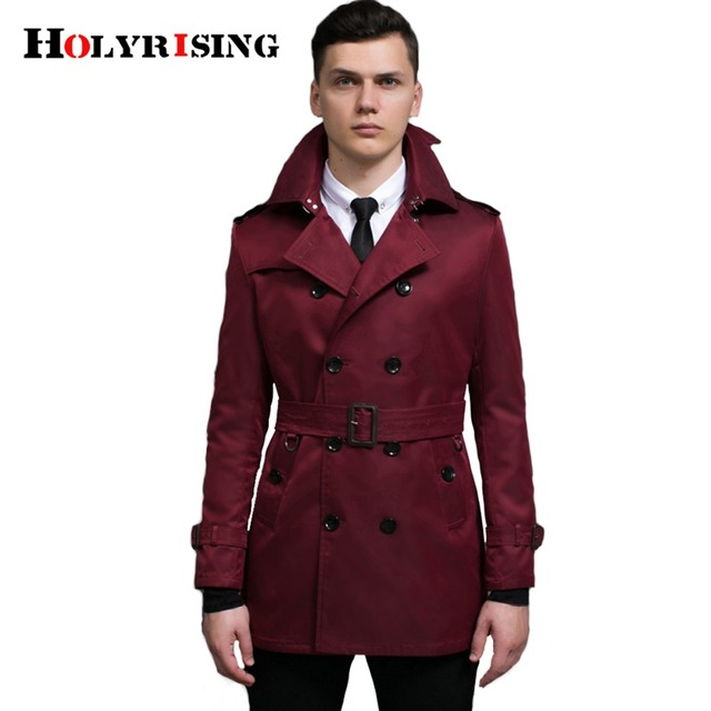 Men Trench Coat Fashion Slim Windbreaker Double Button Jackets Mens Overcoat Red Cloth British Style Overwear#18246-5 Holyrising