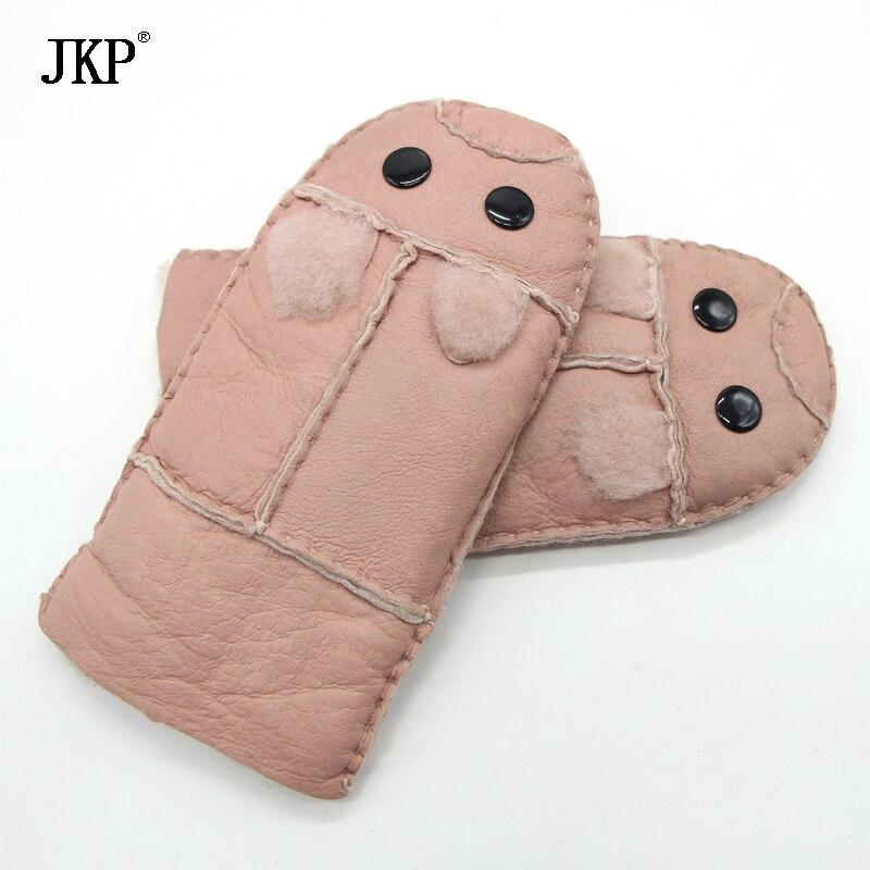 2017 Winter Warm Gloves Kids Gloves Sheepskin Fur  Mittens Children Leather Gloves