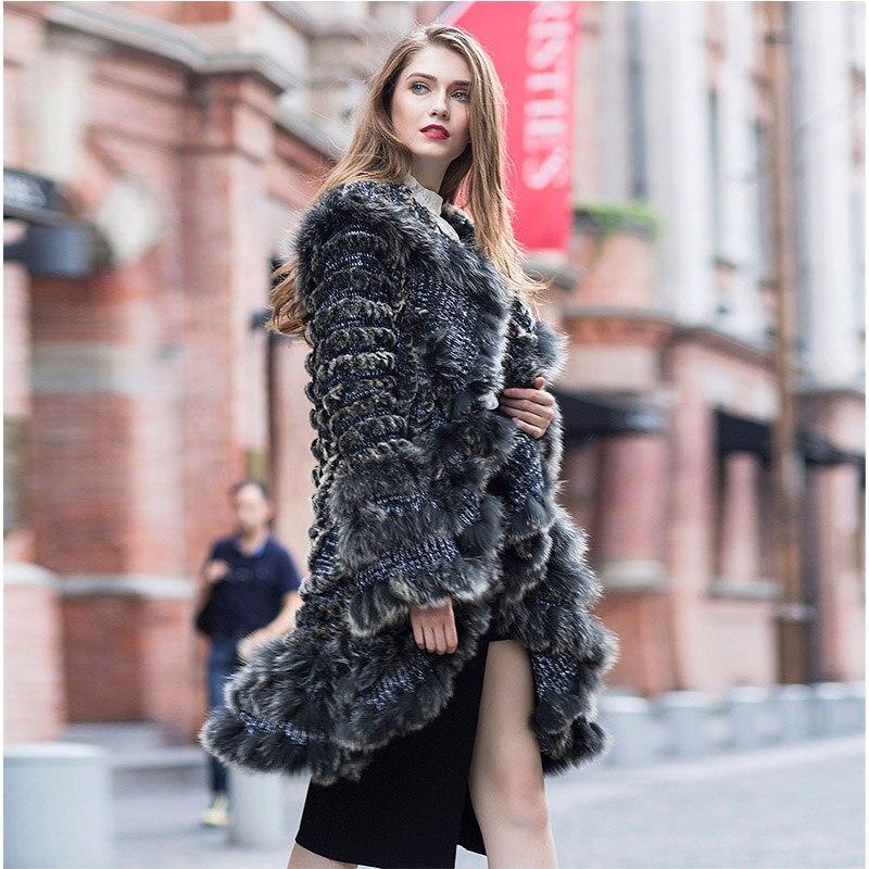 Paste Tricoté Asphoto bean Veste Lapin Manteau Femmes Hiver Réel D'hiver Fursarcar Automne De Long Et Rex Nouvelle Design 2018 Naturel Mode Fourrure RHnXSq1
