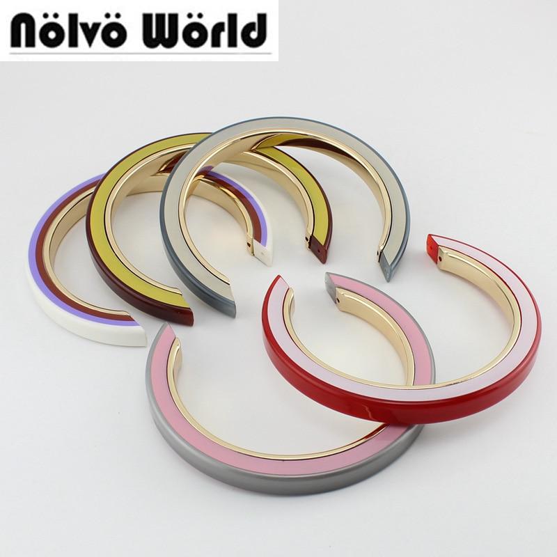 5 Pieces,7 Colors Accept Mix,15.5X14cm Semicircle Acrylic Alloy 3 Layers Bag Handle Oblique Carrier,women Bucket Bags Handle