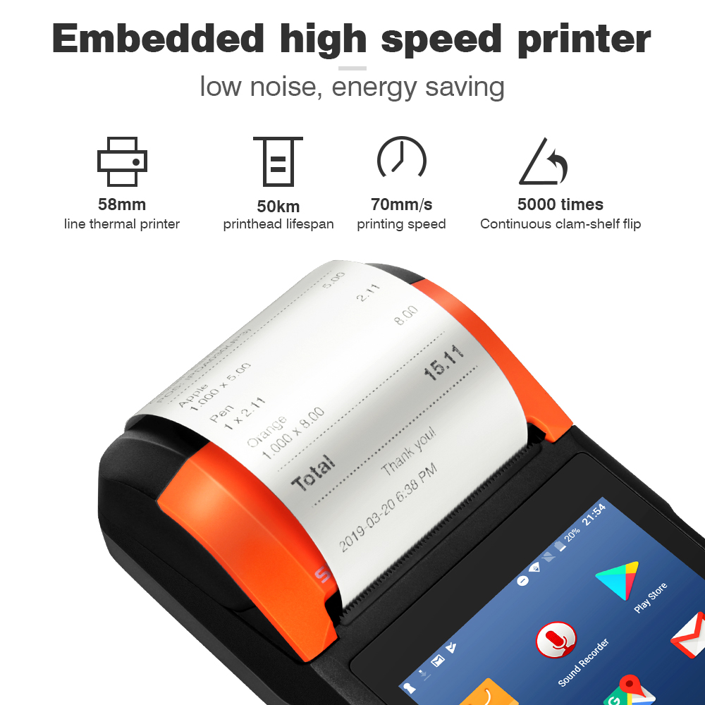 Sunmi V2 Android PDA Speaker Thermal Printer 4G WiFi Camera Scanner 1D/2D  Sim Card Mobile Payment Order Queue Control Restaurant