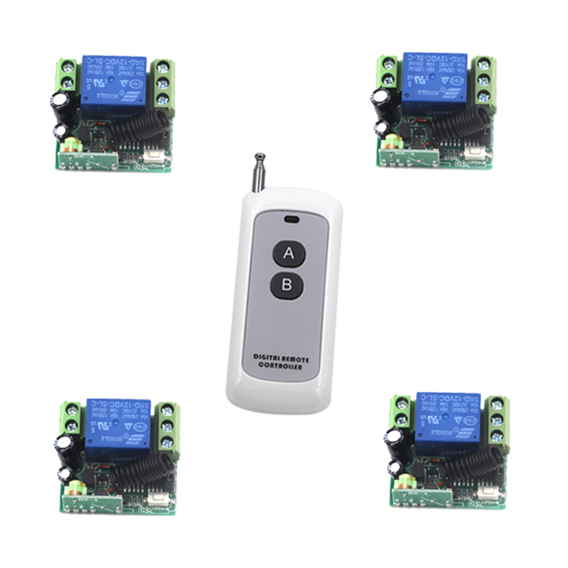 Long Range Remote Control Switch DC 12V 1 CH 10A Relay 4 Receiver + 1 Transmitter Learning Code 315/433 4204 zndiy bry dc 12v 4 ch learning code remote control switch kit black blue