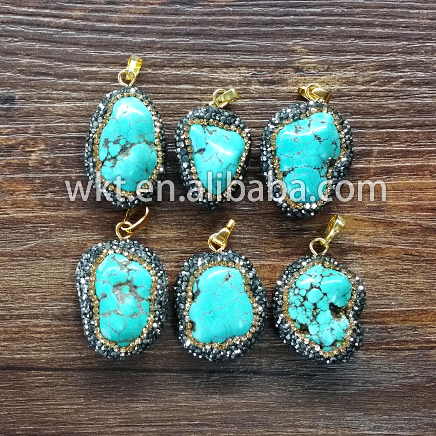 WKT WT NP048 Natural Howlite rhine stone CZ paved pendants Vintage boho howlite pendants