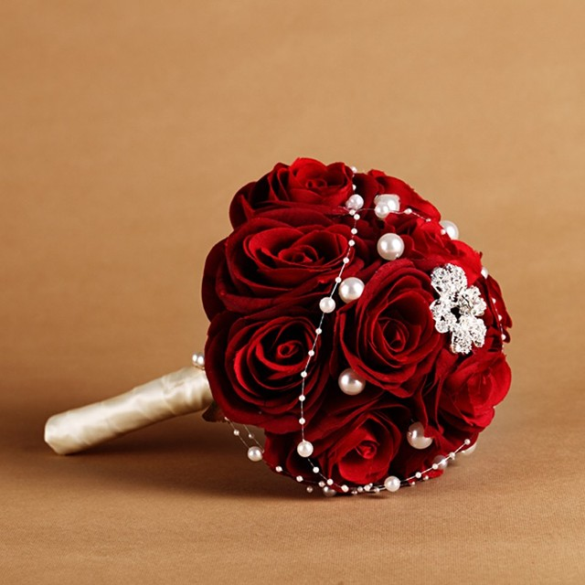 New Red Rose Wedding Bouquet Bridesmaids Flowers With Pearls Bridal Party Home Accessories