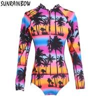 SUNRAINBOW 2017 Newest One Piece Swimsuit Print Floral Bathing Suit Long Sleeve Swimwear Women Surfing Swim