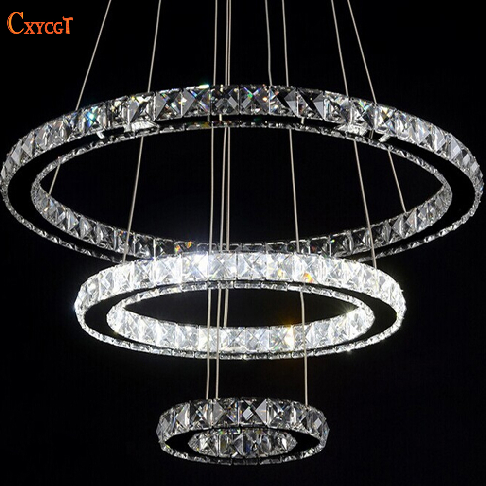Modern Diamond Ring LED K9 Crystal Chandelier Light Fixture For Dining Room Ceiling Hanging Lamp