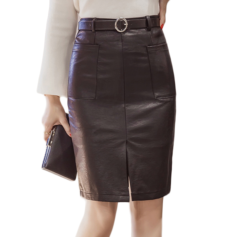 Online Buy Wholesale leather skirt pockets midi from China leather ...