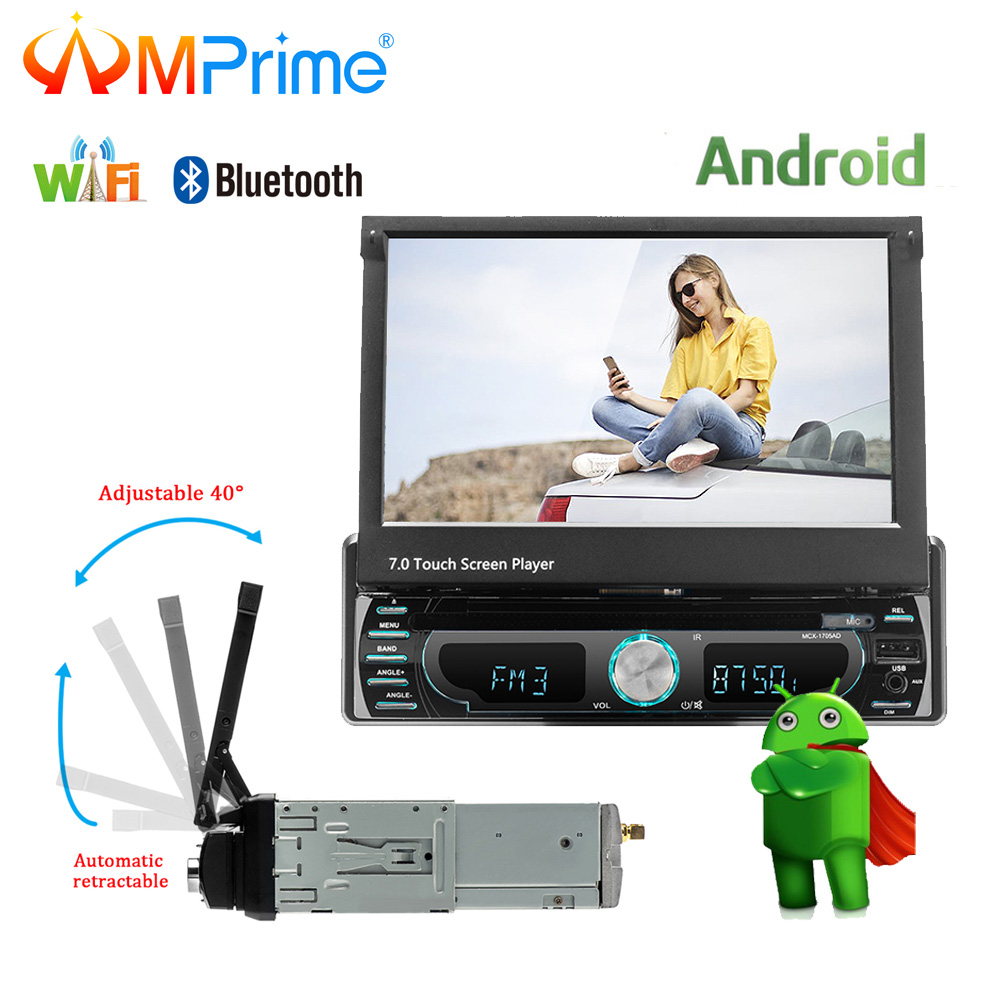 AMPrime 1Din Car radio Android 7 Automatic Retractable Multimedia MP5 Player Quad-core GPS Navigation WiFi 3G AM FM RDS Radio пустышка philips scf172 15