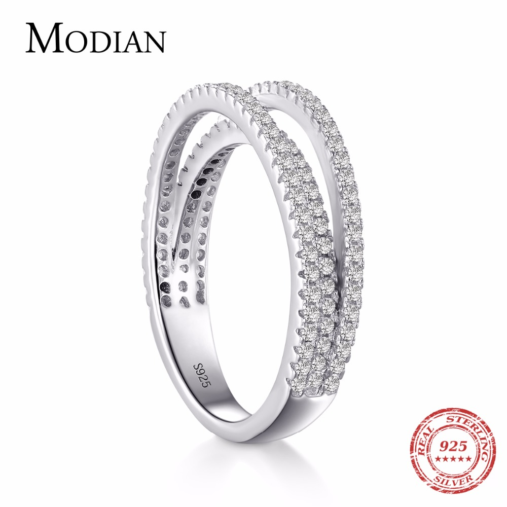 Modian Authentic Solid 925 Sterling Silver Line Simple Fashion Ring Classic Elegant Finger Jewelry For Women Wedding Love Gift jewelrypalace classic wedding solitaire ring for women pure 925 sterling silver simple wedding jewelry fashion gift