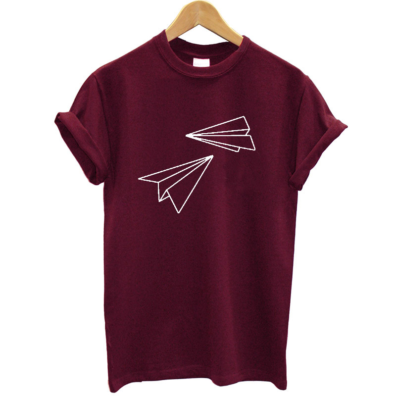 Paper Plane Printed Women Tshirt Cotton Funny Graphic Printed T Shirt for Female Streetwear Casual Lady Tee Shirt Femme