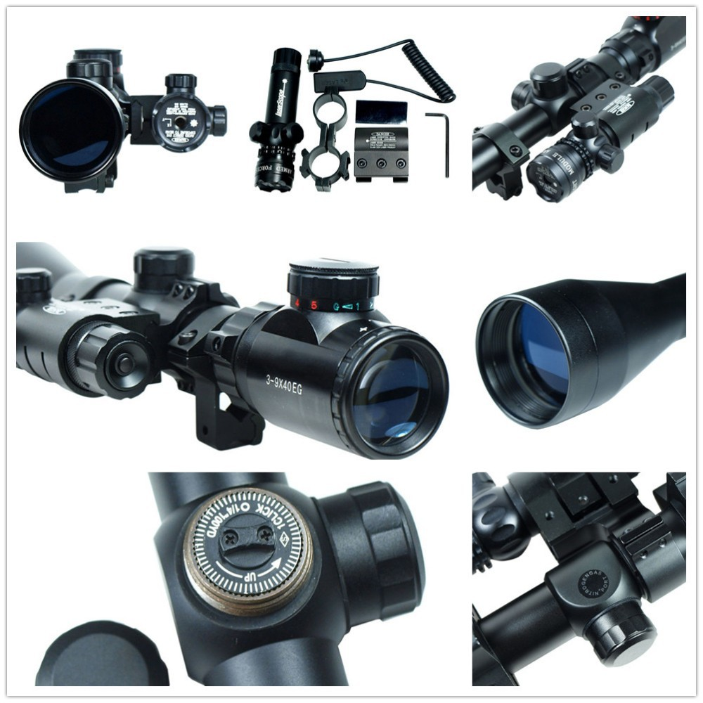 Professional combo Air 3-9x40 Hunting Mil-Dot illuminated Snipe Rifle Scope/ Tactical Optical Rifelscope + Green Laser Sight 3 9x40 tactical hunting 3 in 1 combo rifle scope with red laser