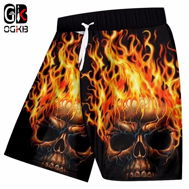 OGKB Men's Casual Shorts Cool Print Flame Skull 3d Beach Board Shorts Man Hiphop Streetwear Qick Dry Polyester Trousers 5XL