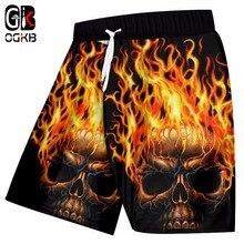 Shorts Man Skull Trousers Beach-Board Flame Streetwear Polyester Men's 5XL 3d Hiphop