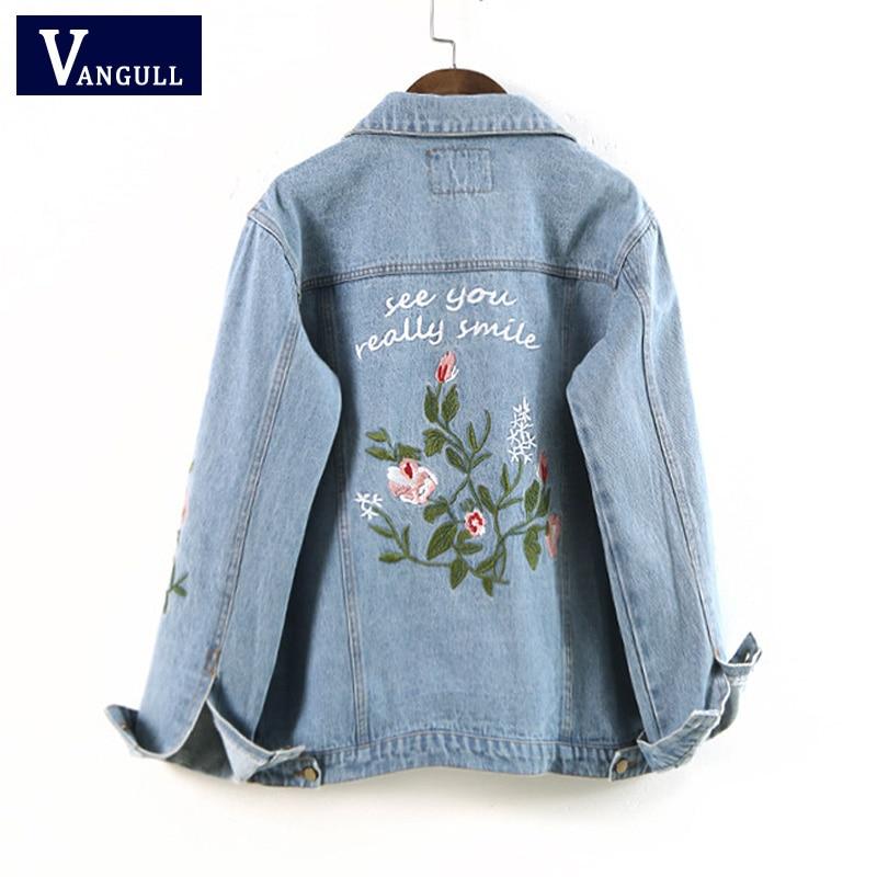 Embroidered short denim jacket women spring autumn