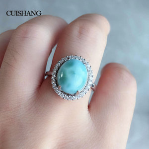 Image 5 - Женское кольцо с ларимаром CSJ, из стерлингового серебра 925 пробы, модные и ультрамодные ювелирные украшения для свадьбы и помолвки