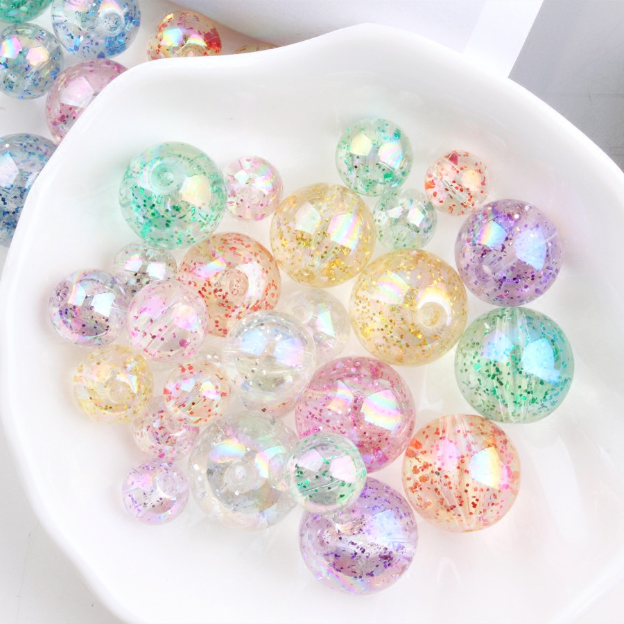 South Korean Star AB Color Transparent Glitter Pearl Beads Jewelry Accessories DIY Perforated Bracelet Material Mix Random Color