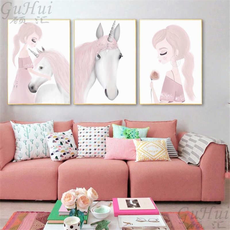 Акварельная розовая роза цветок девушка Единорог животное лебедь Холст Картина постер и принт Настенная картина дети гостиная украшение