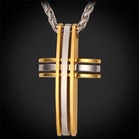 Kpop Joyería Cruz Por Hombres Del Color Del Oro del Acoplamiento de Cadena 55 CM Nuevo Regalo de La Joyería de Moda Colgante de Acero Inoxidable Collares GP153