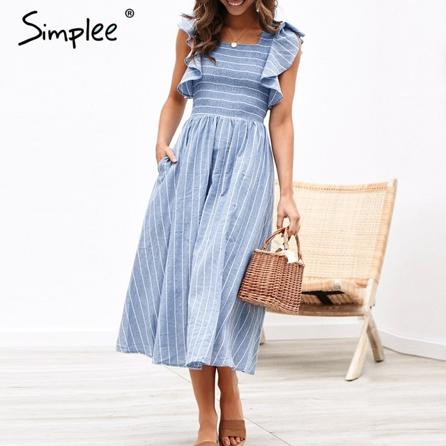 6020e615740e Simplee Vintage striped women long dress Ruffle linen blue elegant summer  dress 2019 Casual cotton fashion female beach vestidos