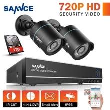 SANNCE 720P CCTV Security System 1080N CCTV DVR 2PCS HD 720P 1280TVL Bullet CCTV Surveillance Cameras 1TB Hard Drive