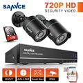 Sannce 720 p hd-segurança ahd kit 4-channel dvr gravador e (2) HD 1280*720 P Em/Ao Ar Livre Sistema de Câmeras de CCTV Bala 1 TB Hard Drive