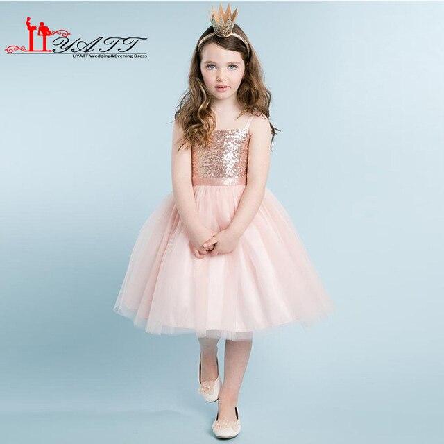 87dfb9088 Colorete flor Rosa Niñas Vestidos a-line Rose oro Lentejuelas Top rodilla  longitud tulle Niñas